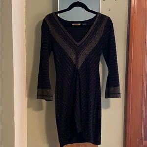 Guess Jeans Black and Gold Sweater Mini Dress